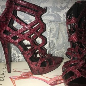 Paper Fox faux red snake skin heels